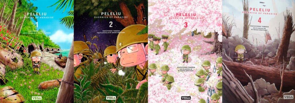 Capas dos 4 primeiros volumes de Peleliu