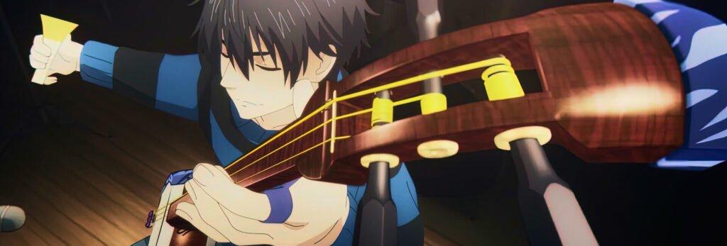 Setsu tocando seu shamisen em um show, mashiro no oto