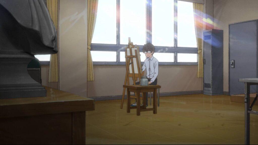 Naoto sozinho na sala de aula