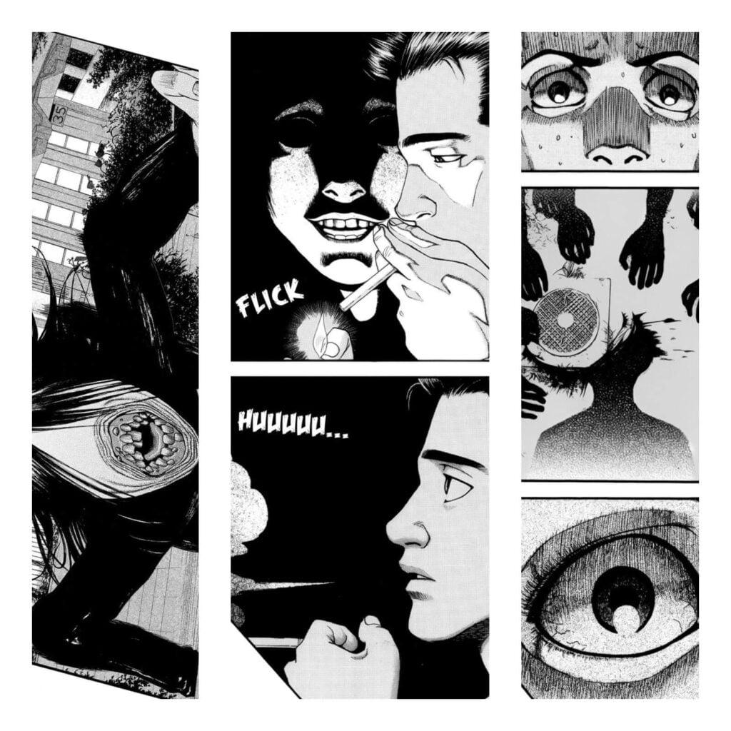 Páginas do Mangá Kouishou Radio, mostrando um pouco das entidades