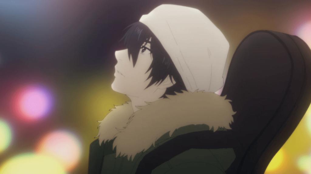 Setsu com roupa de frio, carrgando uma case de shamisen nas costas chegando em tóquio Mushiro no Oto