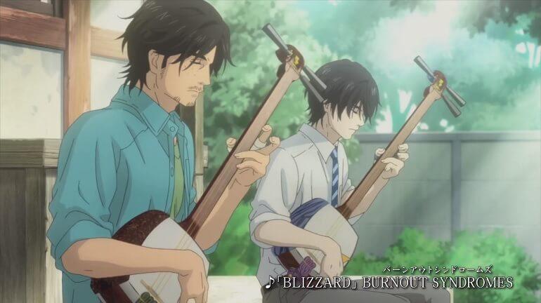 Irmãos sentados com seus shamisens tocando uma música, Mushiro no Oto