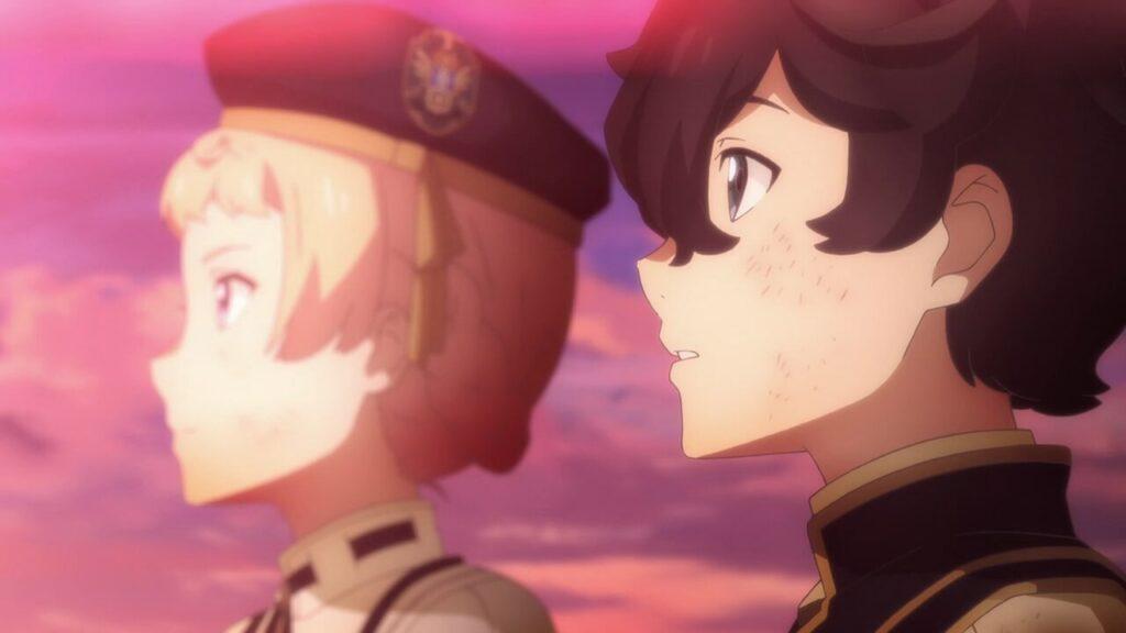 Nemo e Faria, ambos virados para a esquerda contemplando nascer do sol Seven Knights