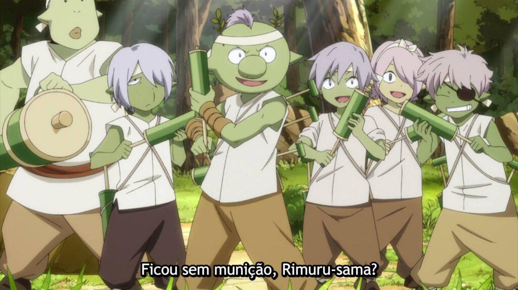 Crianças goblins brincando com o Rimuru em The Slime Diares
