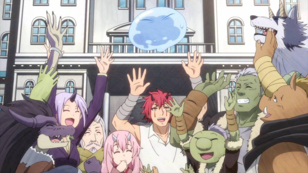 Pessoal da cidade juntos com Rimuru em The Slime Diares