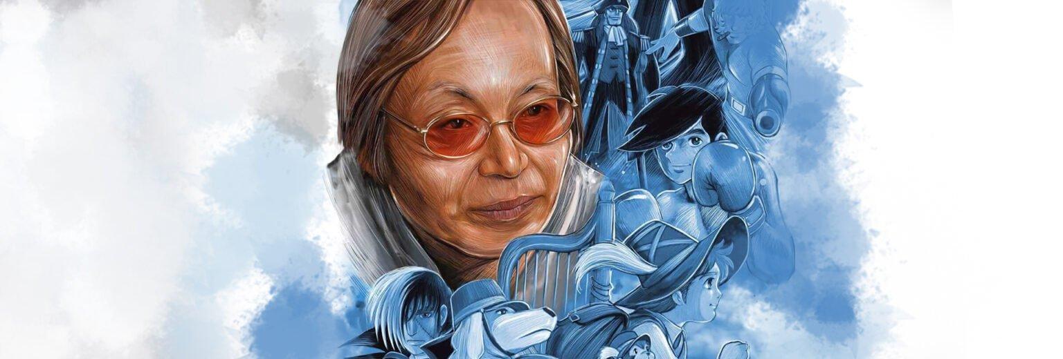 na capa o autor, Osamu Dezaki, está ao centro com óculos de sol com lentes laranjadas cercado por vários de seus pesonagens