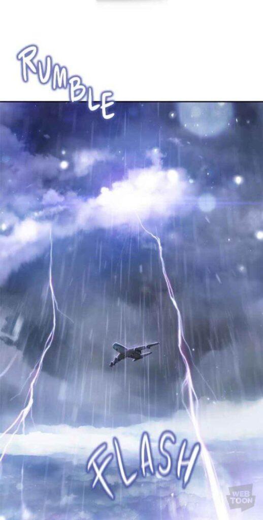 avião com vários raios no céu em Death's game