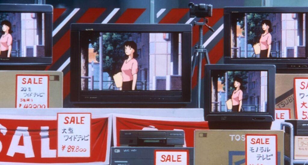 mima se olhando em várias câmeras em perfect blue