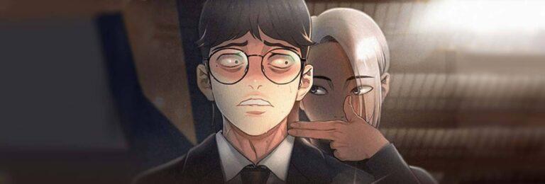 capa death's game, onde o protagonista está amedrontado com um outro apontando o dedo para o seu pescoço em um formato de arma