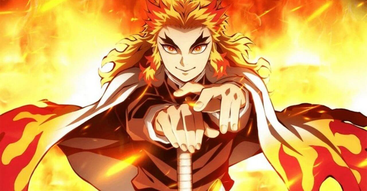 Demon Slayer rengoku envolto em chamas com sua espada