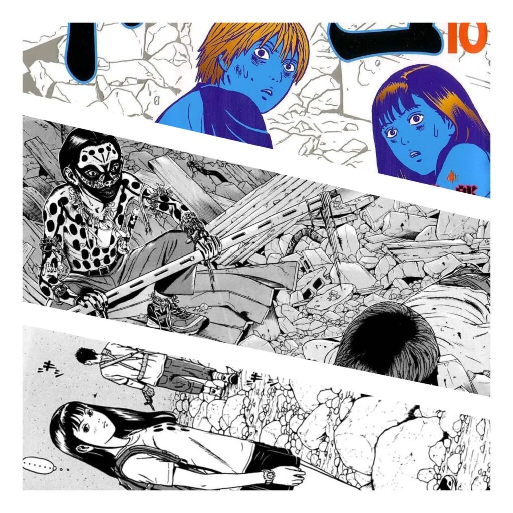 Páginas do Mangá Dragon Head, mostrando os protagonistas