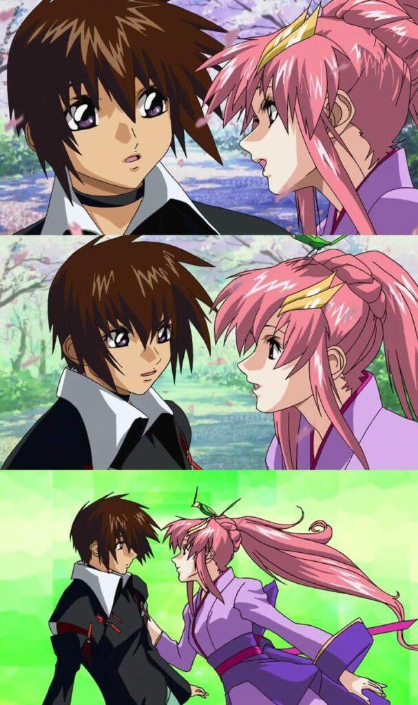 Kira Yamato e Lacus Clyne juntos.