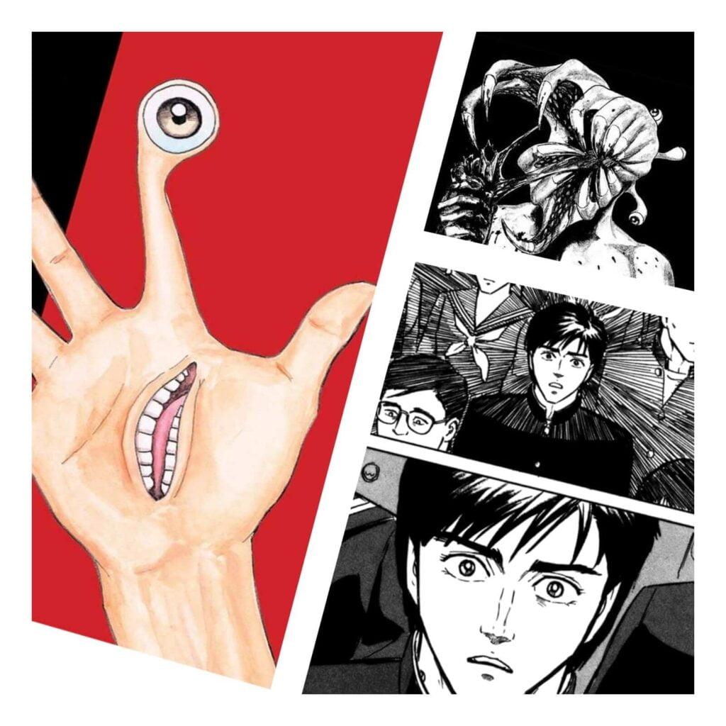 Páginas do Mangá Kiseijuu (mangá de terror), mostrando Migi, Shinichi e um dos monstros