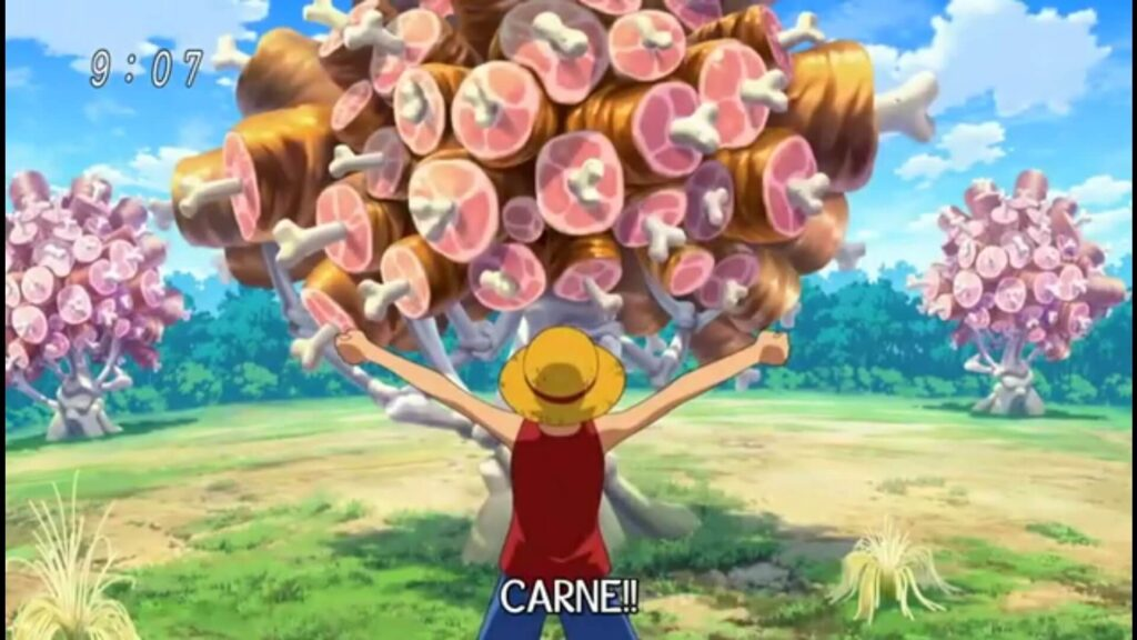 Luffy encontra árvores de carne