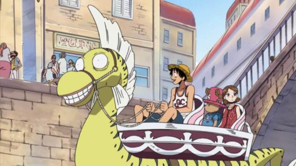 Luffy montado em um yagara