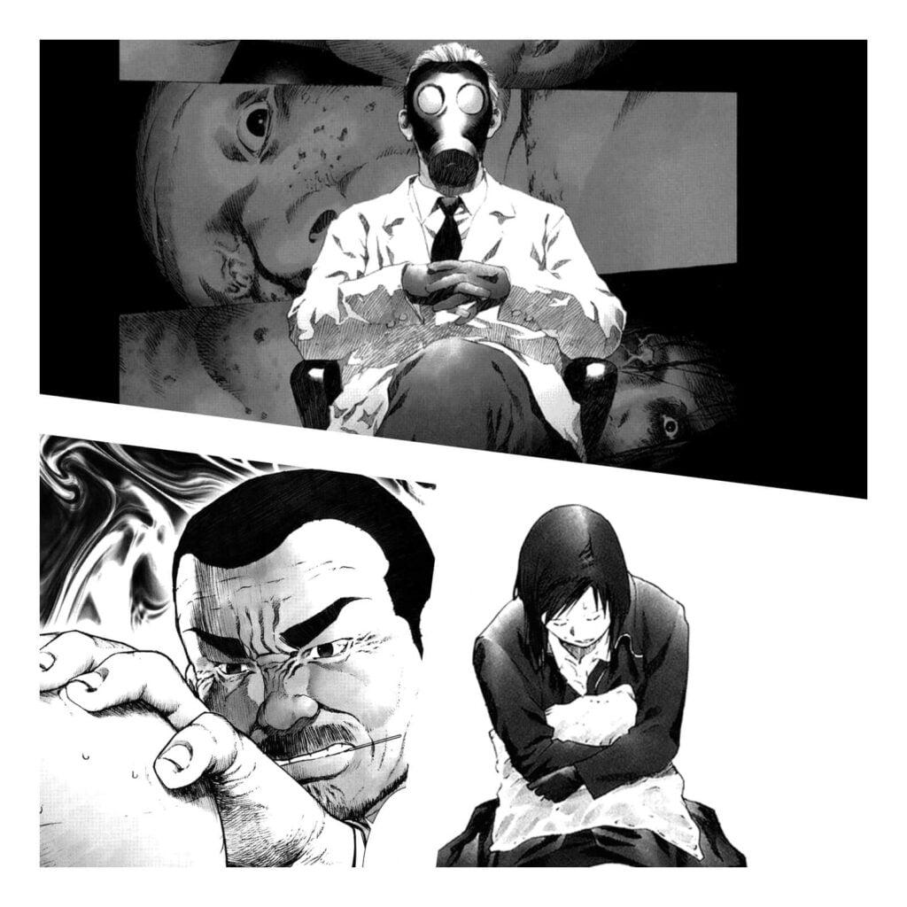 Páginas do Mangá Manhole, mostrando o Suspeito, Ken e Nao