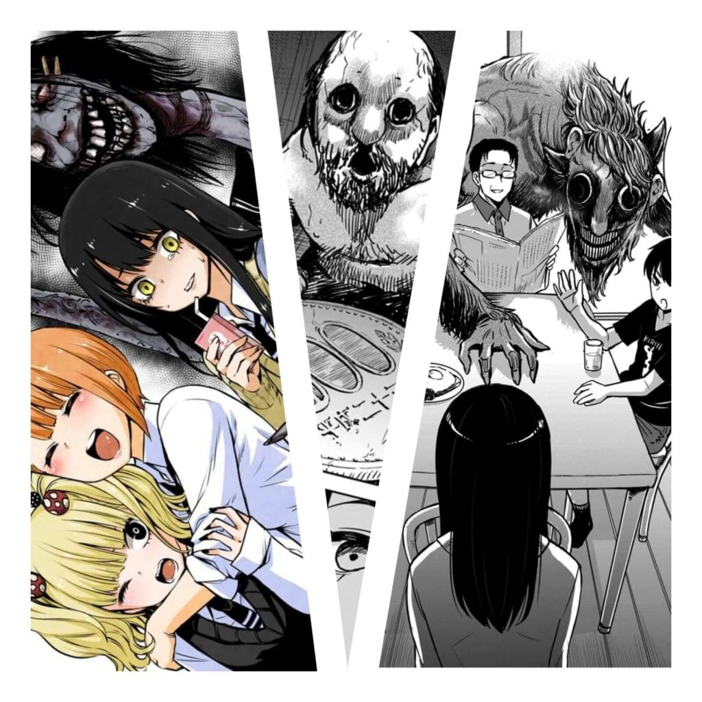 Páginas do Mangá Mieruko-chan (mangá de terror), mostrando o dia a dia de Miko