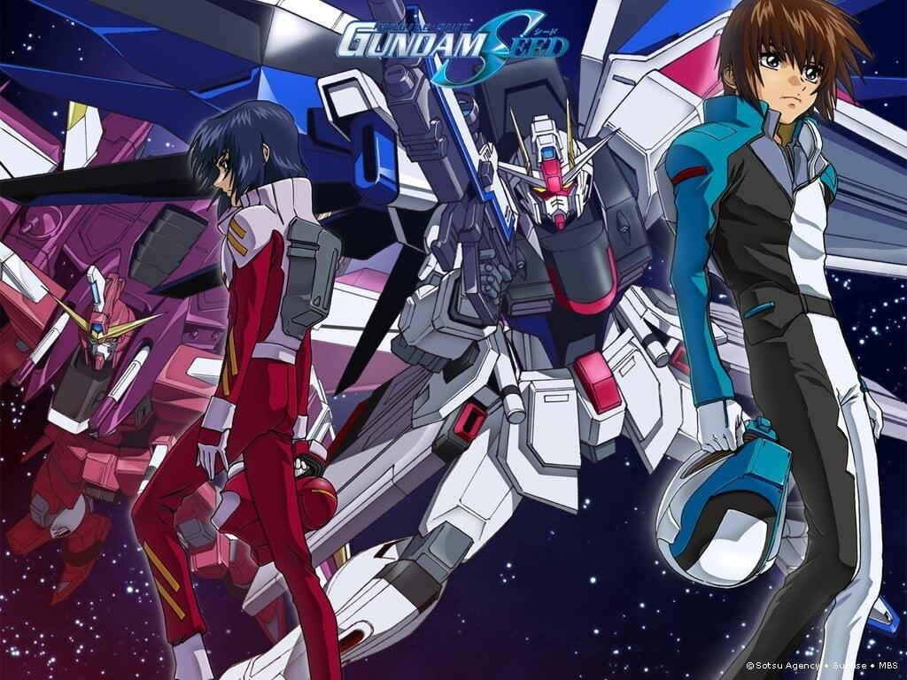 Mobile Suit Gundam SEED - Athrun Zala, Kira Yamato e seus respectivos gundams