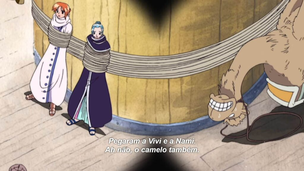 Nami e Vivi e camelo presos no navio pirata