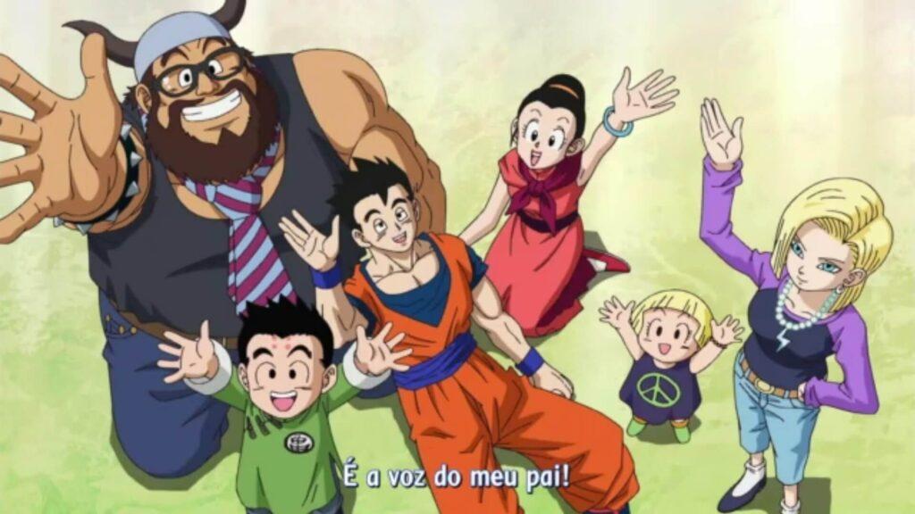 Pessoal ajudando Goku com a Genki Dama