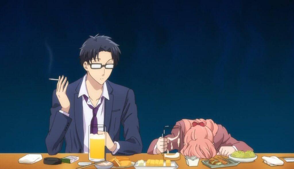 Imagem do anime Wotakoi onde Narumi e Hirotaka estão no bar bebendo