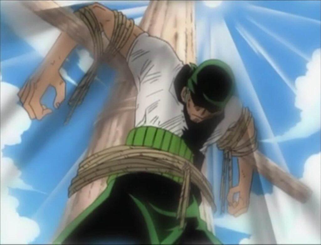 Zoro preso numa cruz no filler de one piece