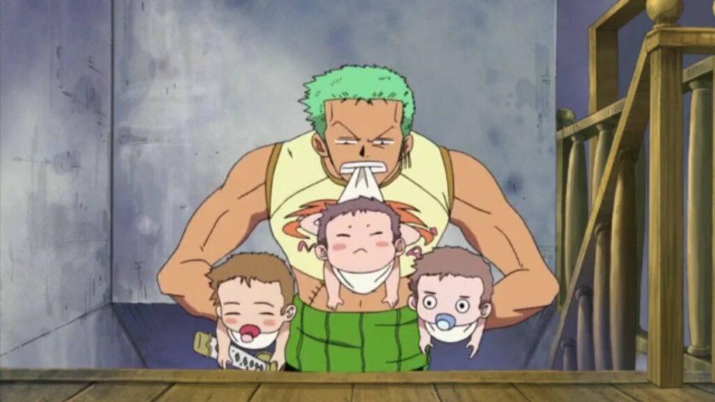 Zoro cuidando das crianças