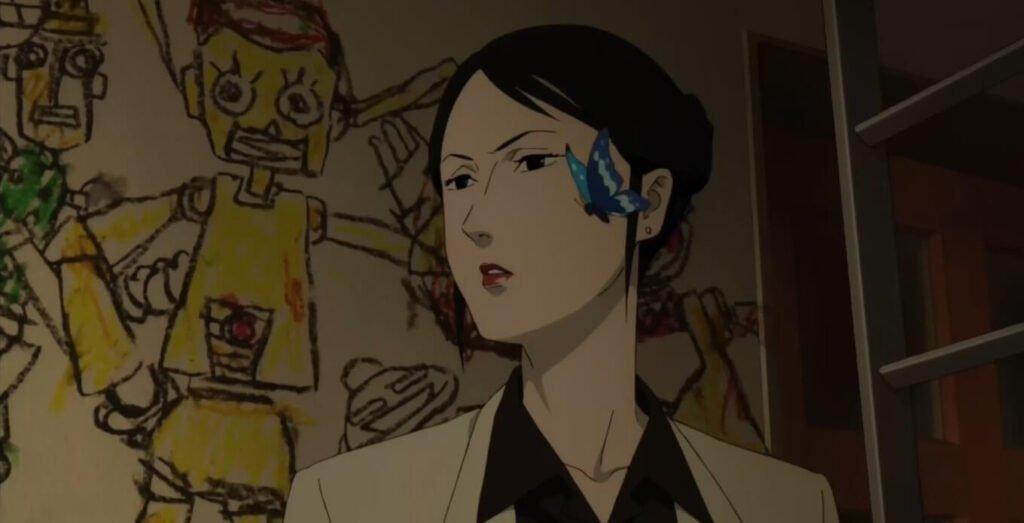 dra chiba investigando com borboleta azul a seu lado