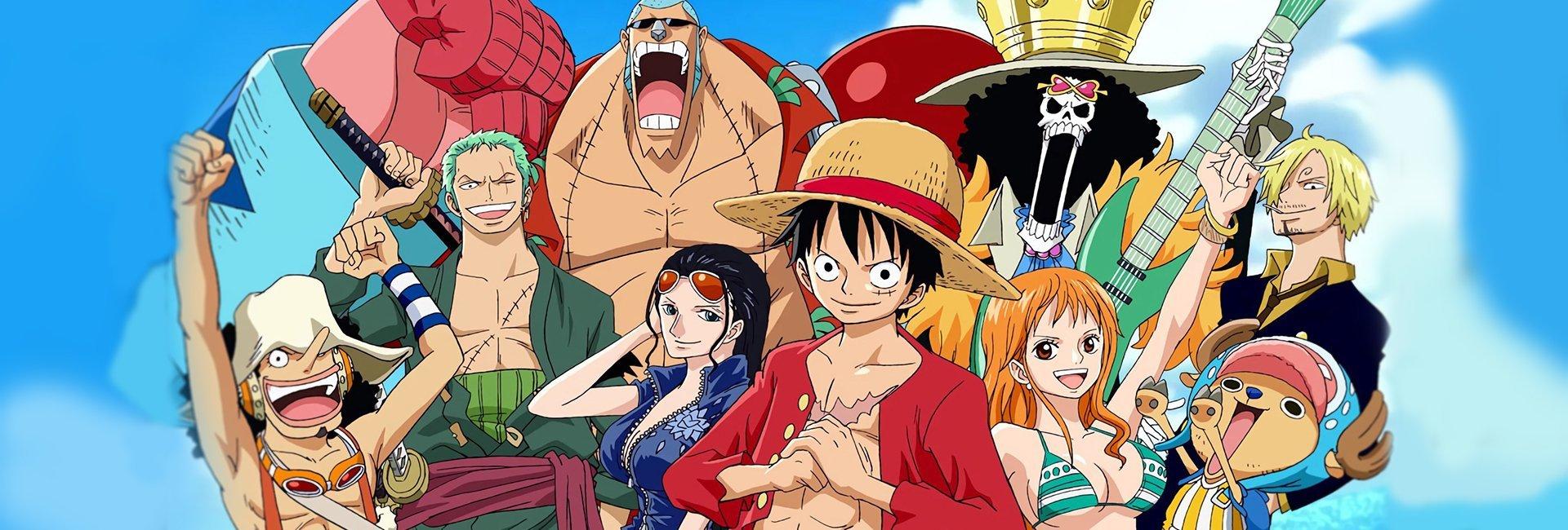 Os chapéus de palha, da esquerda pra direita: Ussop, Zoro, Franky, Robin, Luffy, Brook, Nami, Choper, Sanji - Guia completo de fillers One Piece