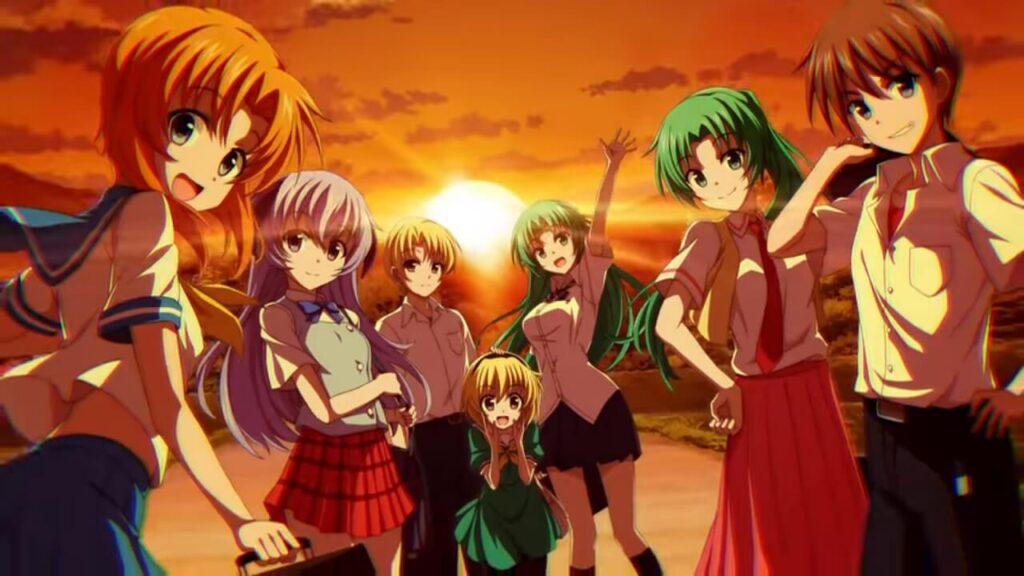 Capa anime Higurashi no Naku Koro. Amigos felizes ao por do sol