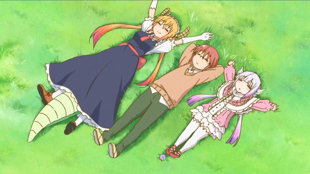 Kanna, Tooru e Kobayashi relaxando, Kobayashi-san Chi no Maid Dragon