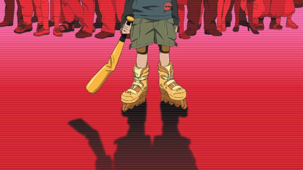 Capa Paranoia Agent. Um menino de patins segurando um bastão de beiseball amaçado