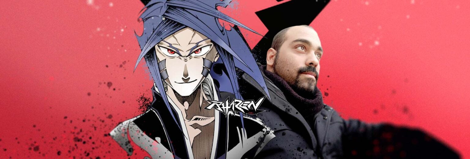 capa com um dos personagens do mangá brasileiro de Rhazen e seu autor o mangaká Fernando Huega