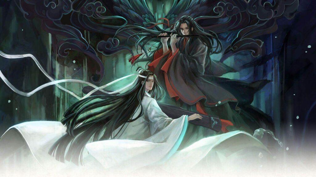 Imagem de Wei Wuxian e Lang Wangji com seus instrumentos mágicos