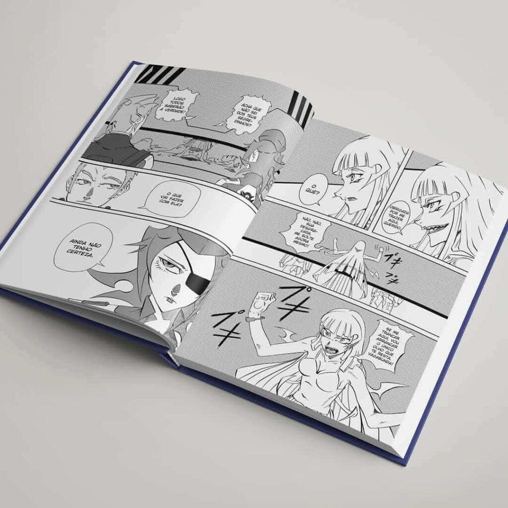 páginas de rhazen com personagem feminina mostrando a língua