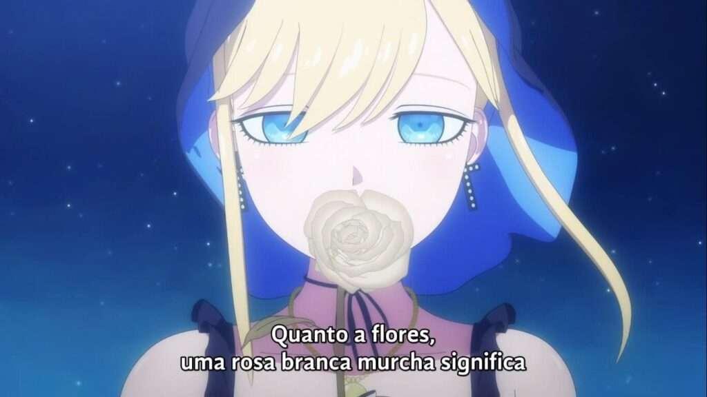 Alice e uma rosa branca em Shinigami Bocchan to Kuro Maid
