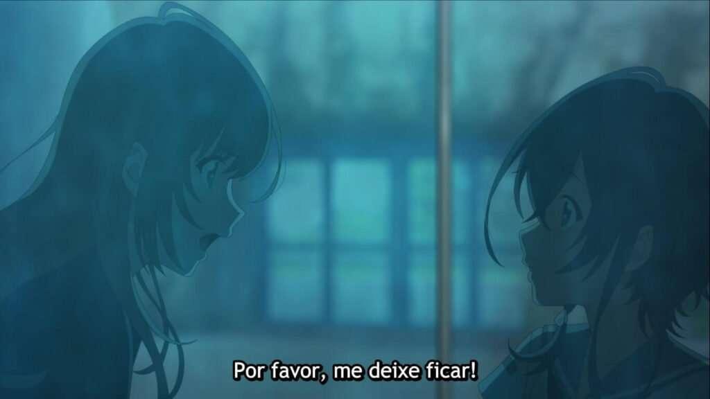Fuuka pedindo para trabalhar com Kururu, em Shiroi Suna no Aquatope
