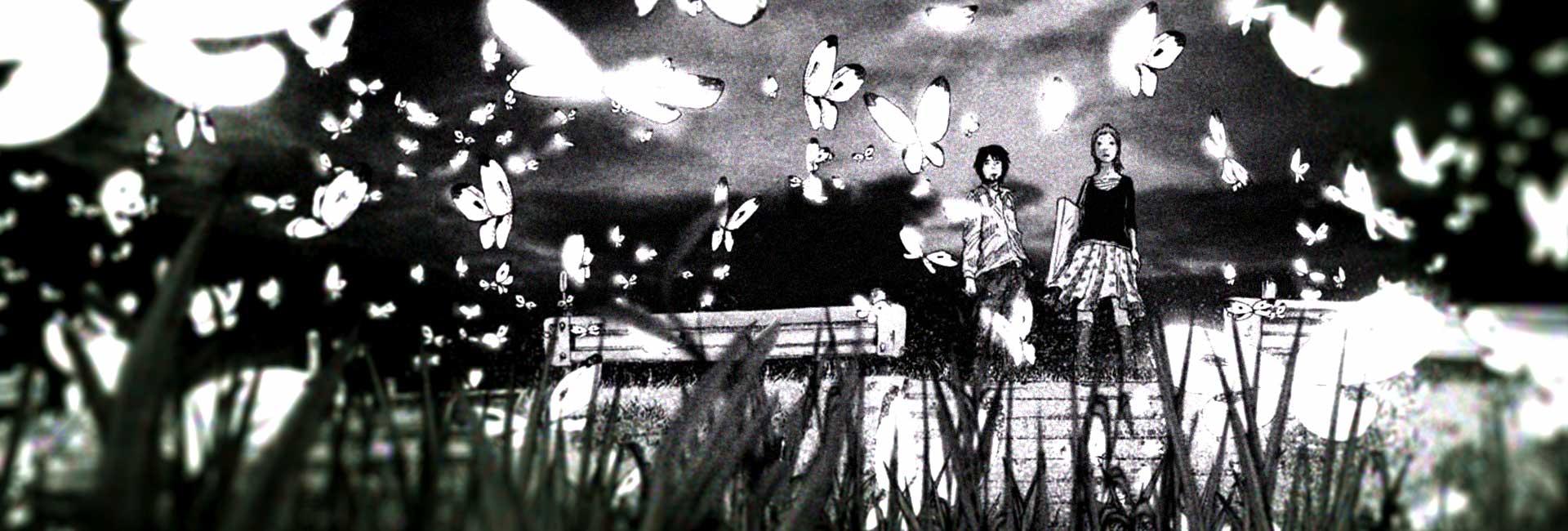 Nijigahara Holograph em um campo cheio de borboletas
