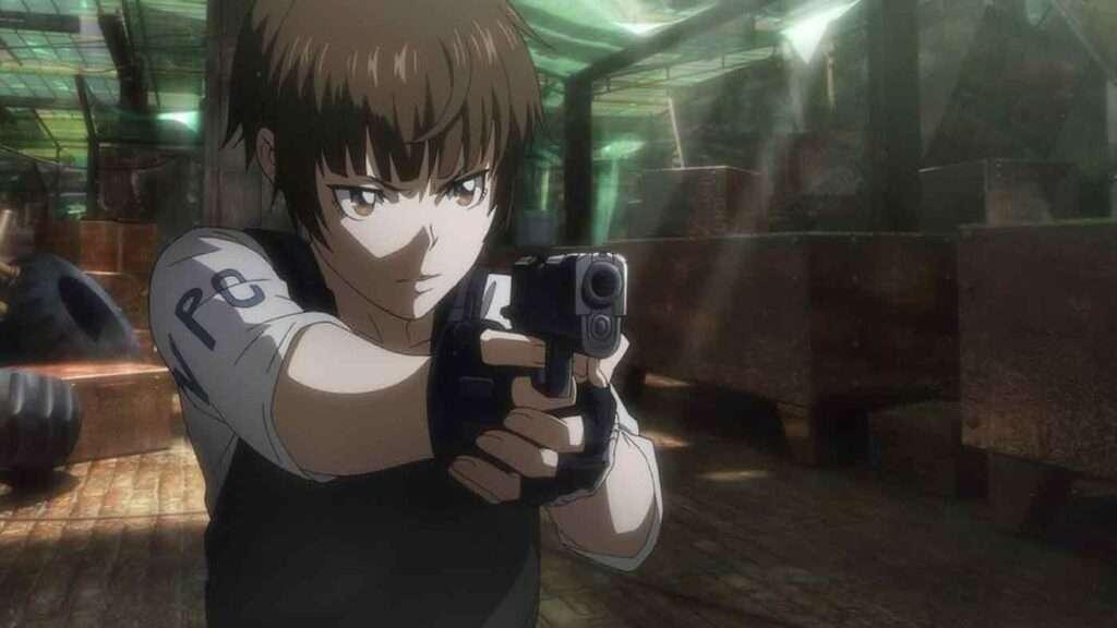 Imagem da Akane apontando uma arma