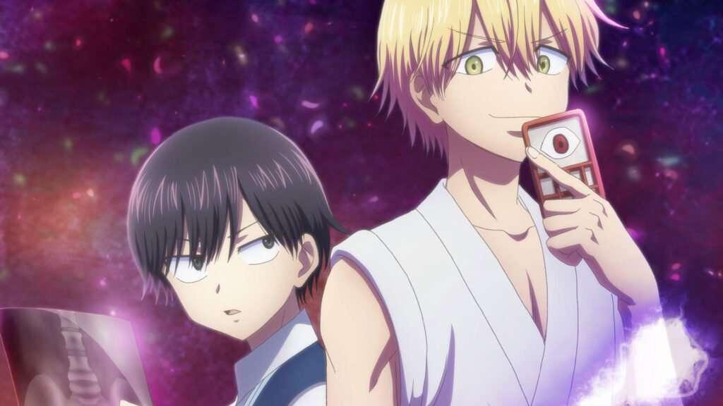 Imagem de Ramune e seu assistente Kuro de costas um para o outro