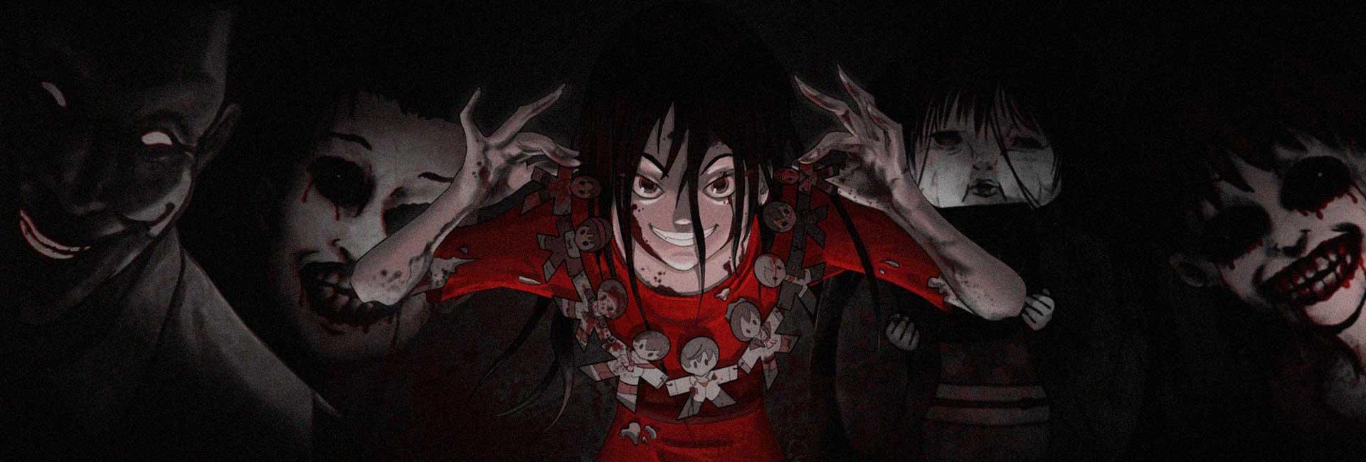 ótimos animes de terror, com corpse party e horror stories na capa, muitos rostos macabros em um ambiente escuro
