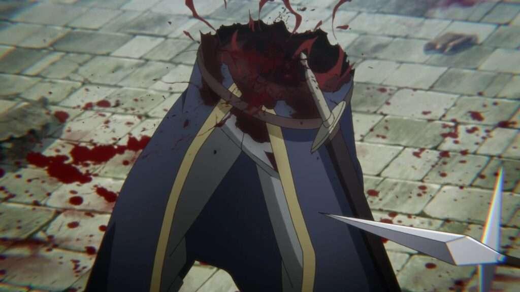 Imagem de um soldado pela metade, com sangue jorrando