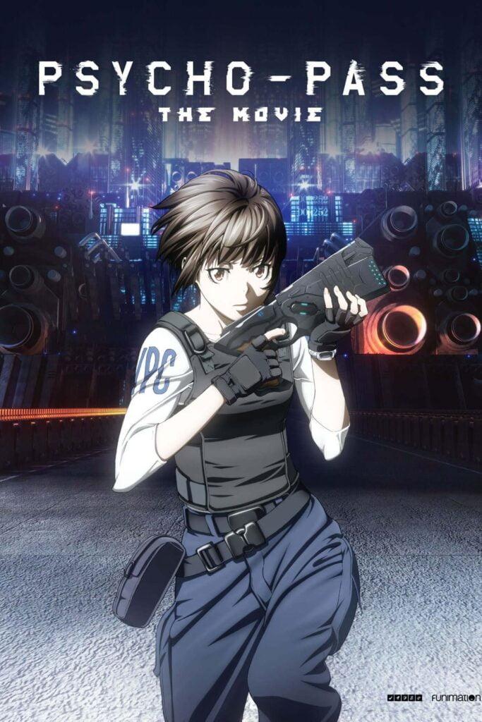 Capa do primeiro filme de Psycho-pass, apenas com a inspetora Akane portando uma Dominator