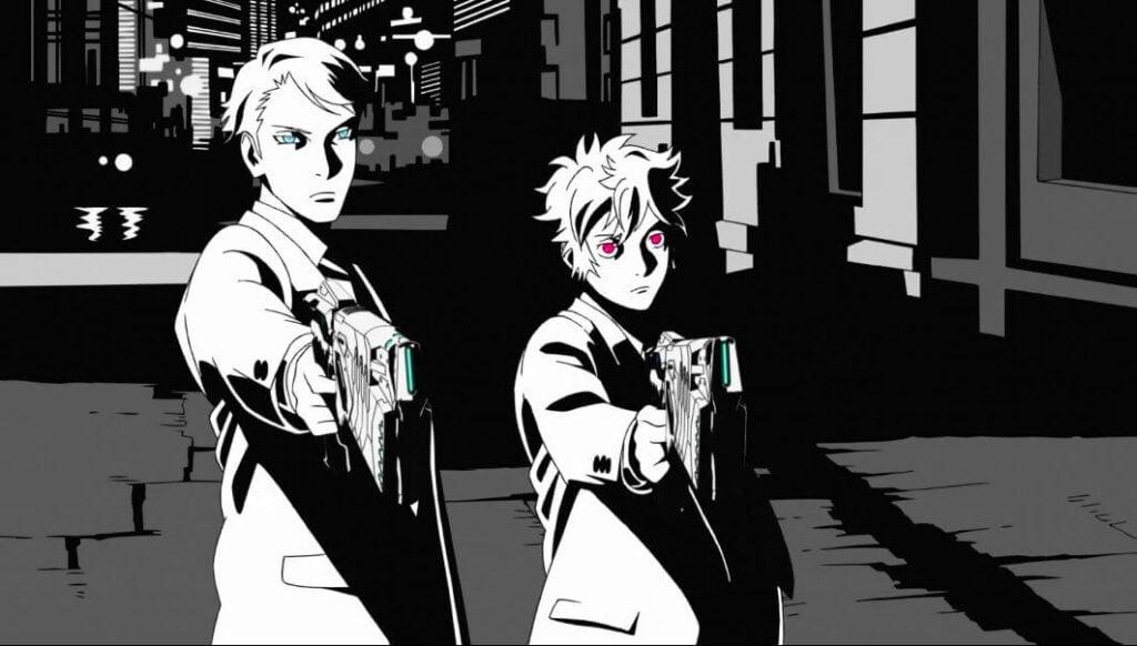 Imagem da abertura da terceira temporada, mostrando Arata e Kei apontando Dominators