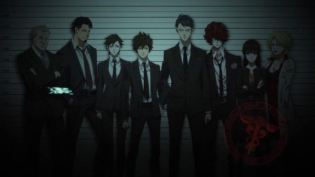 Imagem com os personagens principais da terceira temporada de Psycho-pass e First Inspector