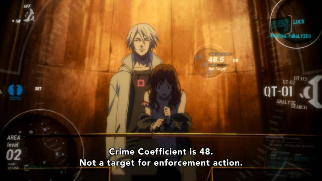 Imagem da primeira avaliação do psycho-pass de Makishima