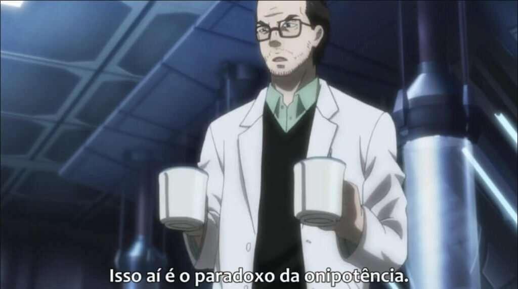 Professor Saiga explicando sobre o paradoxo da onipotência