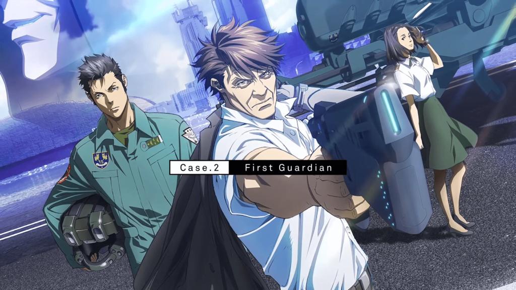 Imagem de capa do filme Psycho-pass Sinners of the System Case 2, com os personagens principais Masaoka, Sugou e Rin