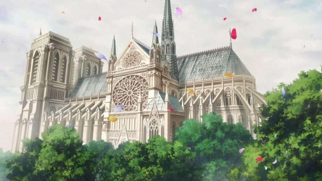 Imagem de cenário de Vanitas no Carte, com um grande edifício em modelo gótico