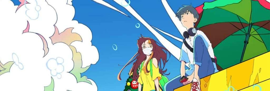 Cider no you ni kotoba ga wakiagaru cherry e smile em um parapreito sentados, com um céu azulado e bolhas ao redor